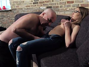 grandpa gets chisel throated and raw beautiful little doll