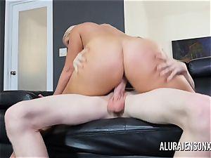 ginormous jug porn industry star Alura Jenson pummels a dangled junior dude