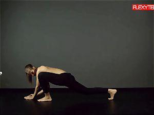 brunette gymnast demonstrating of her ass