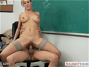 blond educator Brandi enjoy railing man rod in classroom