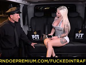 plowed IN TRAFFIC - sultry blondes car triangle smashing
