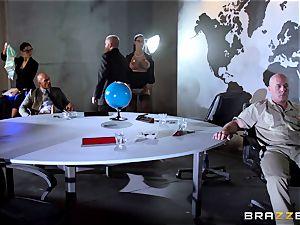 meaty breasted Peta Jensen boinked via the boardroom table