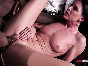 steamy wife India Summer orgasming on a dark-hued weenie