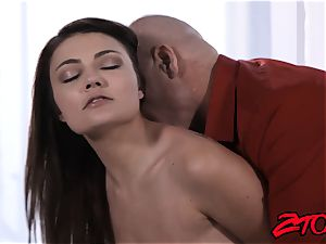 Stepdaughter Adria Rae pulverized and gobbling cumshot
