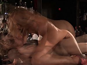 Barmaid Carter Cruise plows her chief at work