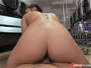 Caught on camera in the laundrette with sumptuous stunner Morgan lee