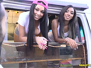 Raven Wylde and Bethany Benz facial in ice fluid truck get beaver fucked