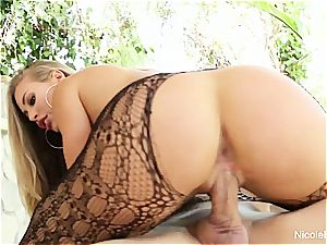 Nicole flashes off her warm assets then gets a superb plumbing