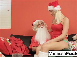 Vanessa letting Santa smash her taut wet poon