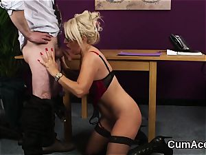 Wacky sweetie gets cum-shot on her face eating all the jizz