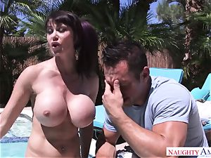 fat boy Johnny Castle plumbs his big-chested neighbor in the backyard