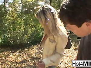 super hot blond milf has a three way at the park