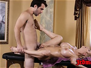 big-chested cougar Alexis Fawx enjoys a sausage riding rubdown