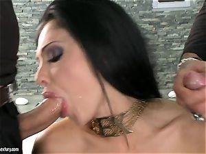 spunky hoe Aletta Ocean gets two hard chubs gargling it molten one at a time