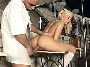 blond maid porking in milky stocking and stilettos