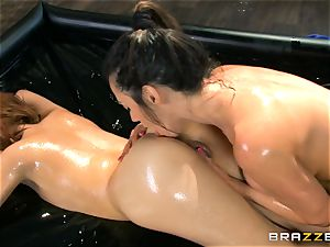 Oily rubdown action with Ariella Ferrera and Adessa Winters