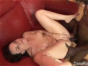dark-haired hottie Dana gets an multiracial rectal boning