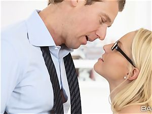 Vanessa cage arches over the desk and takes her bosses sausage