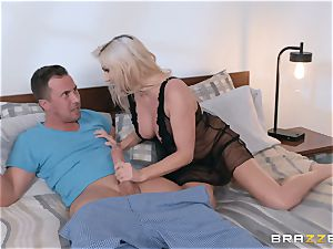 Christie Stevens riding a fuckpole in her pink pucker