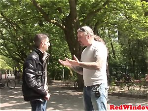 Dutch stockinged hooker rectally fingerblasted