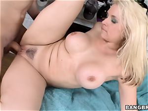 magnificent ash-blonde Sarah Vandella poked from the rear