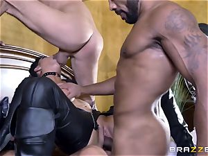 rough in rubber Romi Rain gets pummeled by three molten cocks