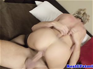 scorching platinum-blonde housewife milf plowed
