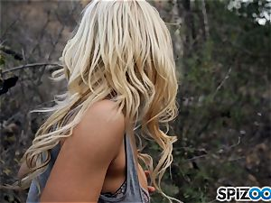 light-haired sweeties Sarah Vandella and Alix Lynx smash with hooded stud