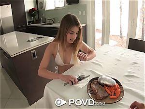 POVD Steak and blow-job day for dark-haired Kristen Scott