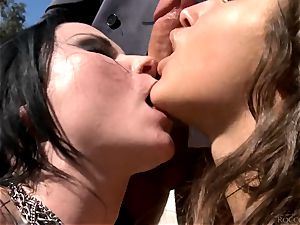 Veruca James and Abella Danger getting romped by Rocco Siffredi