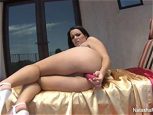 Natasha lovely toys her ass and takes a bathroom