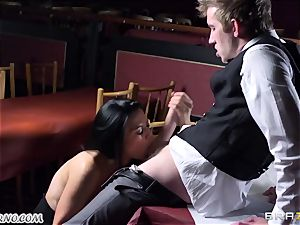stellar huge-boobed waitress Jasmine Jae gets her taut vulva banged by Danny