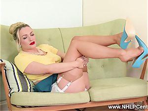 blonde milf disrobe teases in retro lingerie nylons stilettos