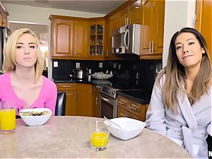 wondrous Haley Reed and Eva Lovia slit striking 3some