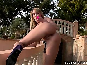Blue Angel cutie platinum-blonde dildoing outdoor