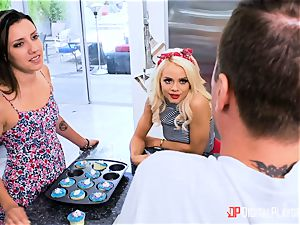 banging shaft deep into Elsa Jean nads deep in the kitchen