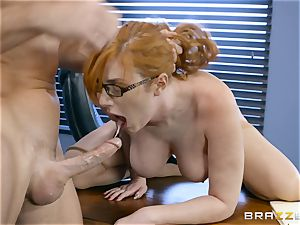 spunk-pump greedy Lauren Phillips boinked in her ginger vag