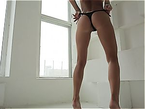 sensitive brunette honey teasing in point of view video