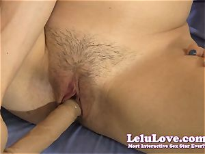 She peels off down encourages u to stroke with dildo demo