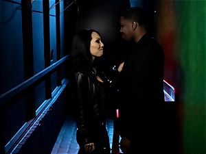 Asa Akira blows one phat big black cock in disco