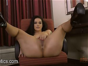 Katrina Jade leans over and gives you a flash