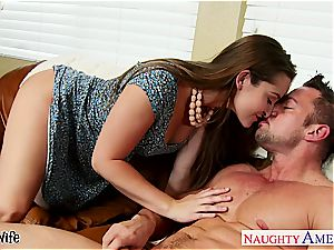 cool wifey Dani Daniels takes his large pecker in her furry vag