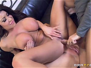 Sybil Stallone and her friend toying with Keiran Lee and his immense man-meat