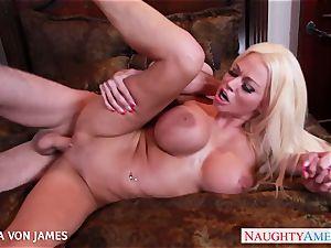 salacious blondie Nikita Von James ride a yam-sized manhood